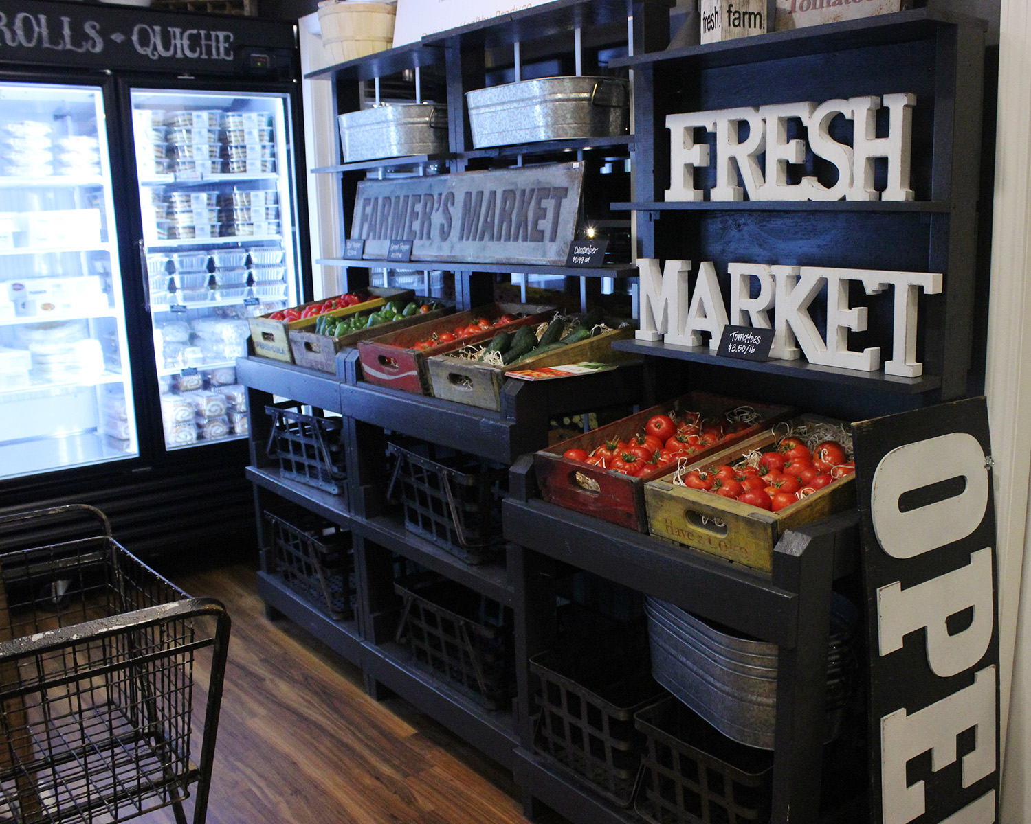 """Our Freedom Foods """"Farmer's Market"""" section- we are offering fresh produce!"""