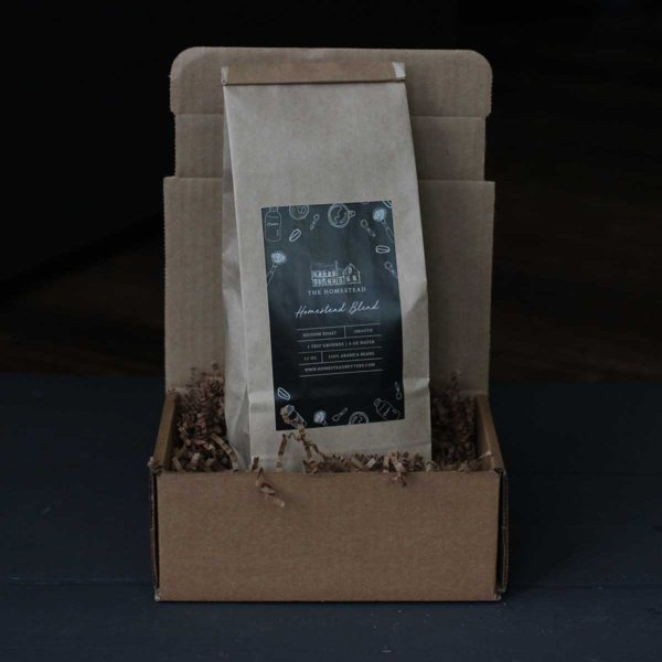 "Our ""Homestead House Blend Coffee"" gift box includes: 10 oz. fresh ground House Blend Coffee"
