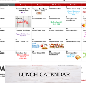 current month lunch calendar with daily soup
